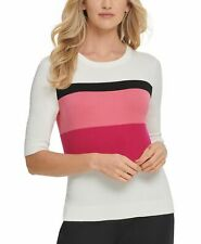 DKNY Womens Sweater Pink White US Size XL Pullover Striped Colorblocked $79- 273