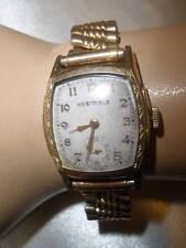 Vtg 40s Deco WESTFIELD BULOVA Fancy Mens Big Rectangular Wrist Watch 7 Jewels