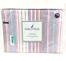 NEW Nautica Greenwich Multicolor Pin Stripe Twin Flat Bed Sheet Cotton 210 Thred