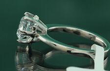 1 Carat D VVS1 Diamond Engagement Ring Round Cut 14K White Gold Enhanced 5.5