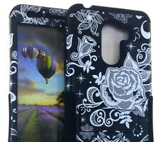 ALCATEL A30 PLUS / WALTERS / Tmobile REVVL -Hybrid Armor Case Cover Black Flower