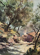 Vintage French Impressionist Mountain Village Tony Cardella Lg Lithograph #S32