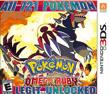 Legit Unlocked Pokemon Omega Ruby All 721 Shiny w Max Items, 3Ds 2Ds Sun & Moon
