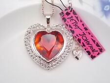 Betsey Johnson Fashion Jewelry inlay red Crystal Heart Pendant Necklace #A