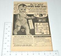 Living Baby Doll Cries Real Tears Lifelike 1958 1950s Magazine Vintage Print Ad