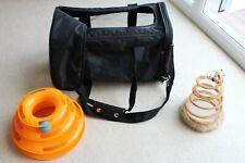 Lightweight Amazon Cat Transporter Net side Black Strap folds & toys Hardly used