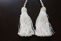 Vtg Antique Lace Hand Knotted Tie Backs Tieback Curtain Tassels Ivory Cotton