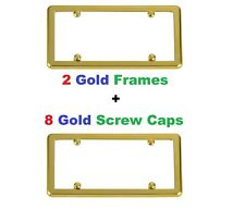 2 Gold Frames + 8 Gold Screw Caps for Vehicles