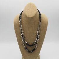 Vintage Ali Khan New York 2 Strand Black, Silver & Crystal, Glass Bead Necklace