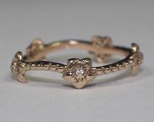 14k Rose Gold Round White Diamond Flower Design Eternity Band Ring Size 6.5