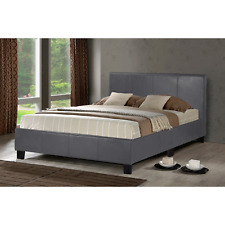 Pablo 4ft Small Double Graphite Grey Bed Vegan Faux Leather Low Frame