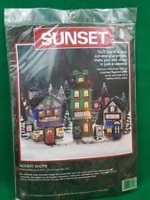 Vintage Dimensions Sunset Holiday Shops Christmas Village Craft Kit - NEW #18124