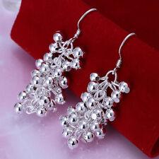 Womens 925 Sterling Silver Grape Beads Long Drop Dangle Hook Earrings #E198