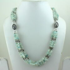 NECKLACE NATURAL AQUAMARINE CHIPS BEADED GEMSTONE 70 GRAMS
