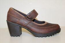 Eastland Womens Mary Jane Low Heels Clog Shoe Sz 7M Brown Leather Slip On