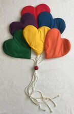 Vintage Fabric Nursery Bedroom Wall Hanging Bunch Balloons Rainbow Hearts