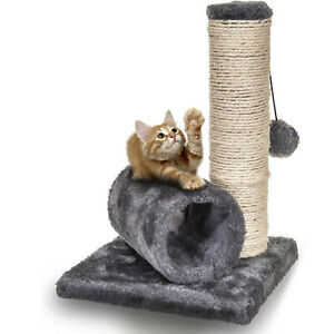 Cat Kitten Sisal Scratch Post Bed Toy With Tunnel & Mouse Pet Activity Grey UK