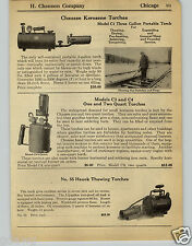 1930 PAPER AD Chausse Kerosene Torch Portable Railroad Thawing Clements Cadillac