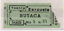 España Entrada Teatro de la Zarzuela Madrid año 1955 (DS-125)