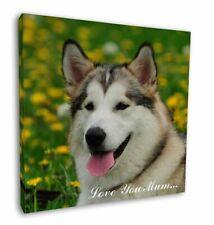 "Alaskan Malamute Dog 'Love You Mum' 12""x12"" Wall Art Canvas Decor, AD-AM3lym-C12"
