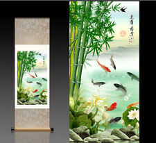 Chinese Silk Scroll Painting Fish Home Office Decoration(翠竹有鱼)