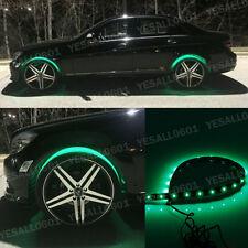 "4x 24"" Green LED Wheel-Well Neon Glow Flexible Strip Lights Car Fender Lamps Kit"