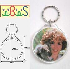 10x Blank Round Acrylic Keyrings 50mm Frame & 45mm Photo key ring plastic 96506