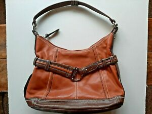 Tignanello Two Tone Brown Tan Shoulder Bag Zipper Silver Buckle Handbag EUC