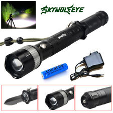 Tactical Flashlight Knife Adjustable LED,Multifunctional Survival Knife Torch US