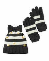 Kate Spade New York Youth Girls 12-14Y Striped Bow Beanie Hat Gloves Boxed Set