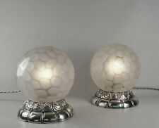 GENET ET MICHON : PAIR FRENCH ART DECO LAMP 1930 .. globe lampe muller era 1925