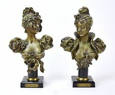 Pair of Antique of French Busts Young Women Blonde and Brune