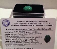 Certified $750.00 Dyed Emerald Green Beryl Gemstone - 14.00 carats