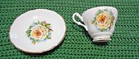 Regency Made in England Yellow Rose Bone China Cup & Saucer