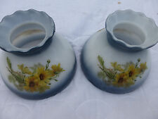 "Two vintage blue white w yellow daisies 8"" glass shades GW12BB"