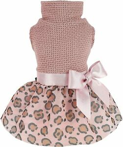 Fitwarm Leopard Dog Dress Lightweight Knitted Pet Clothes with Bowknot Tutu