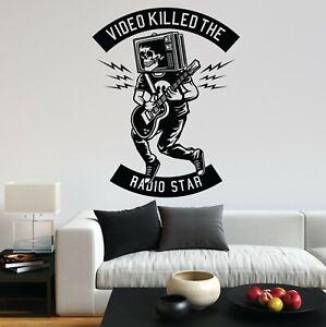 Video Killed The Radio Star Music Indstrument Skull Wall Art Sticker Home UK