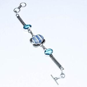 "Rainbow Mosaic Jasper  Ethnic Gemstone Handmade Gift Jewelry Bracelet 7-8"""