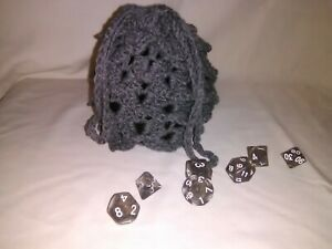 Handcrafted Dragon Egg shape dice bag with polyhedral dice set combo