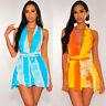 Stylish Lady Gradient Print Deep VNeck Sleeveless Backless Sexy Beach Club Dress