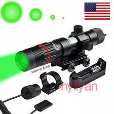 US ZoomableGreen Laser Designator Illuminator Tactical Flashlight&Mounts&Charger