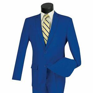 LUCCI Men's Royal Blue 2 Button Classic Fit Poplin Polyester Suit NEW