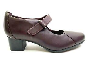 Clarks Women's Un Damson Vibe Aubergine Leather Mary Jane Heel Shoes Sz US 9M