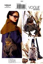Vogue Sewing Pattern V8942 Bags Purse Tote Handbag Frog Owl stuffed animals 8942