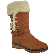 LADIES WOMENS GIRLS FLAT LOW HEEL FUR LINED LACE SNOW WINTER CALF BOOTS SIZE