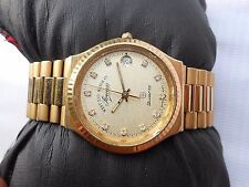 DIAMOND DIAL GOLD PLATED WEST END WATCH CO SOWER DATE QUARTZ MENS WRISTWATCH