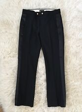 JCREW Tall cropped wool pant with satin tux stripe F9626 Black 4T $138 SOLDOUT!