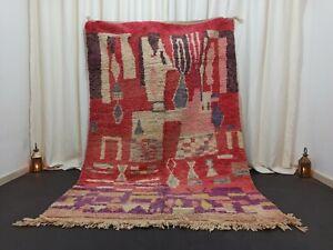 "Tribal Berber Boujad Moroccan Rug Vintage Nomad Handmade Carpet 5'5"" x 8'2"""