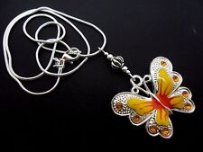 A TIBETAN SILVER YELLOW  BUTTERFLY  THEMED NECKLACE. NEW.