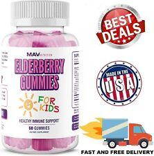 KID'S ELDERBERRY IMMUNE SUPPORT Vitamin C Zinc Natural Berry Flavor 60 Gummies